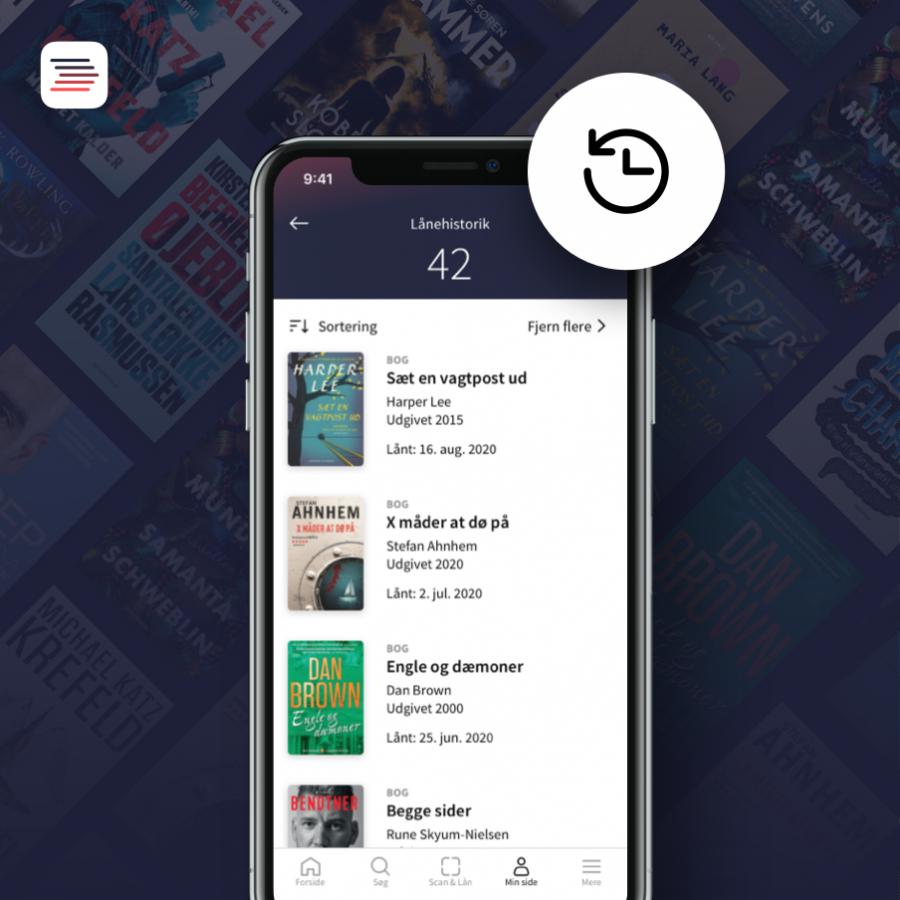 På billedet vises hvordan lånerhistorik ser ud i appen Biblioteket